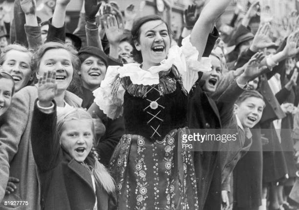 The people of Karlovy Vary in Czech Sudetenland rejoice at the arrival of Adolf Hitler, 4th October 1938.