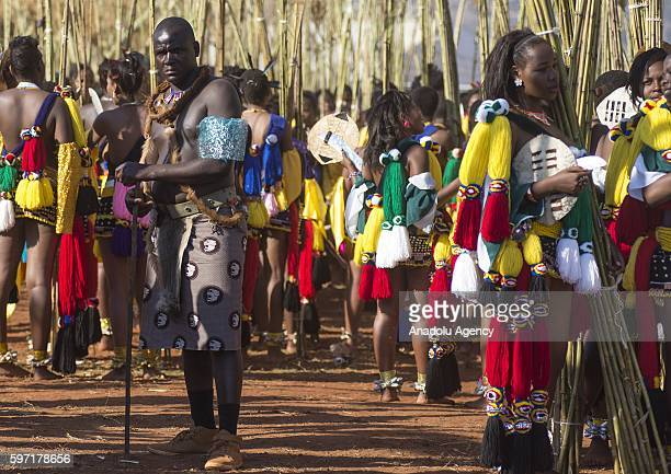 The people of Swaziland participate the Swazi's cultural ceremony Umhlanga Festival at Ludzidzini Royal Village in Swaziland Lobamba South Africa on...
