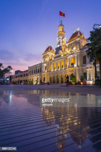 the people's committee building in ho chi minh city vietnam at night - people's committee building ho chi minh city stock pictures, royalty-free photos & images
