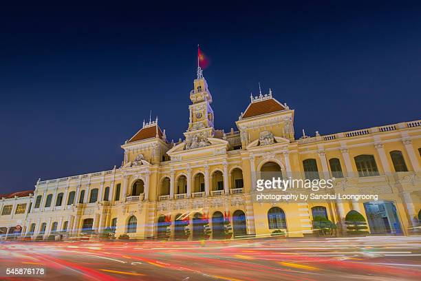 the people's committee building in ho chi minh city vietnam. - people's committee building ho chi minh city stock pictures, royalty-free photos & images