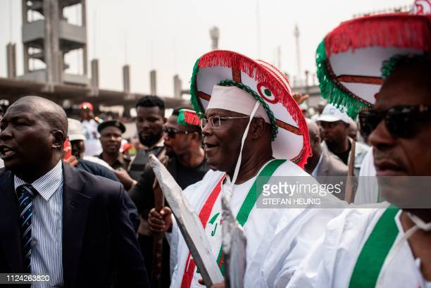 The Peoples Democratic Party presidential candidate Atiku Abubakar arrives for a rally at the Tafawa Balewa Square in Lagos on February 12 2019...