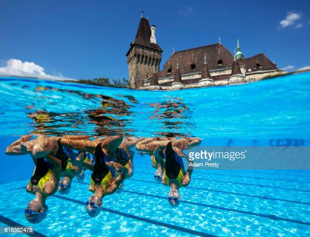 The People's Republic of Korea practice in front of the Vajdahunyad Castle ahead of the Synchronised Swimming Team Technical preliminary round on day...