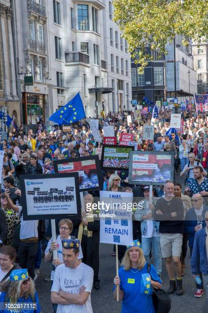 The Peoples Vote March For The Future on 20th October 2018 in London United Kingdom More than 100000 people marched on Parliament to demand their...