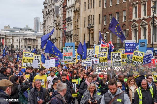 The people's vote march makes it's way down Whitehall street on 23 March 2019 Thousands of protesters gathered in central London today to take part...