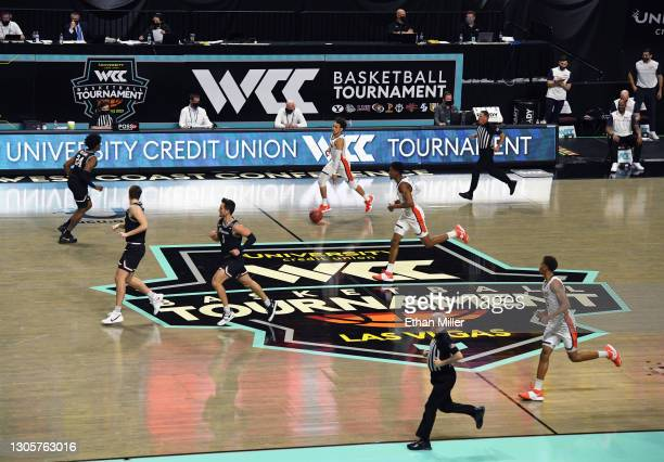 The Pepperdine Waves and the Santa Clara Broncos play during the West Coast Conference basketball tournament quarterfinals at the Orleans Arena on...