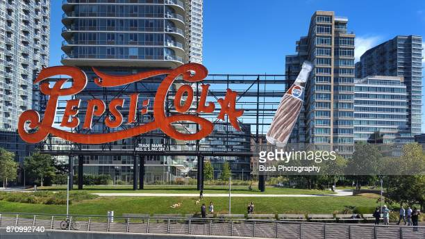 The Pepsi Cola Sign at Gantry Plaza State Park, Long Island City, Queens waterfront, New York City