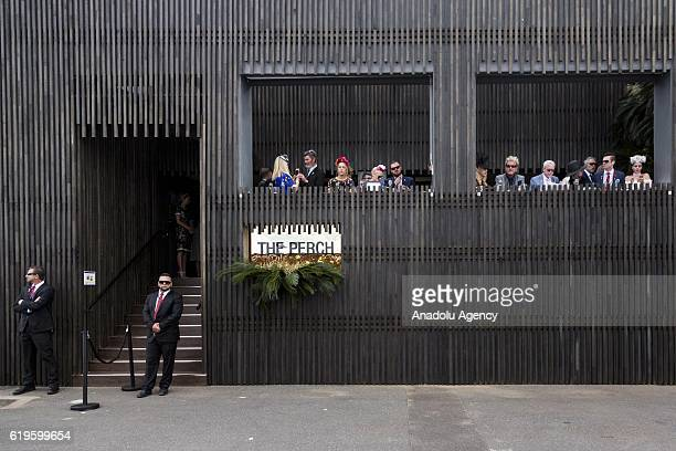 The Perch a marquee inside the exclusive birdcage during 2016 Melbourne Cup at Flemington Racecourse Melbourne Australia November 1 2016 The...