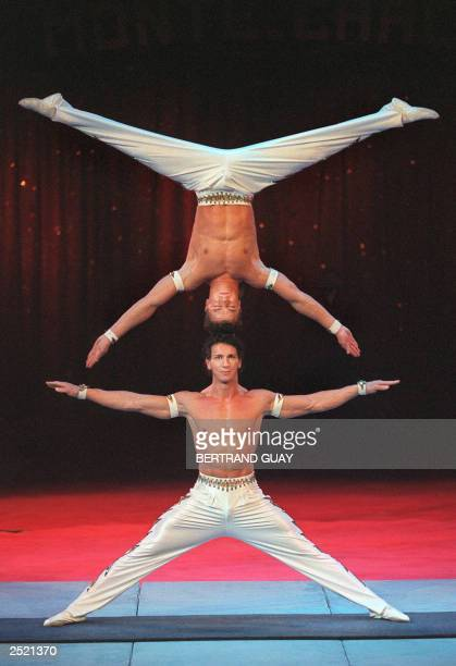 The Peres Brothers circus acrobats from Portugal Adans Lopez Peres and his brother perform during the 25th International festival of Circus in...