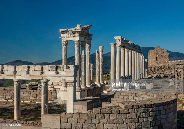 the pergamon ancient greek city in bergama district of izmir, turkey. - ベルガマ ストックフォトと画像