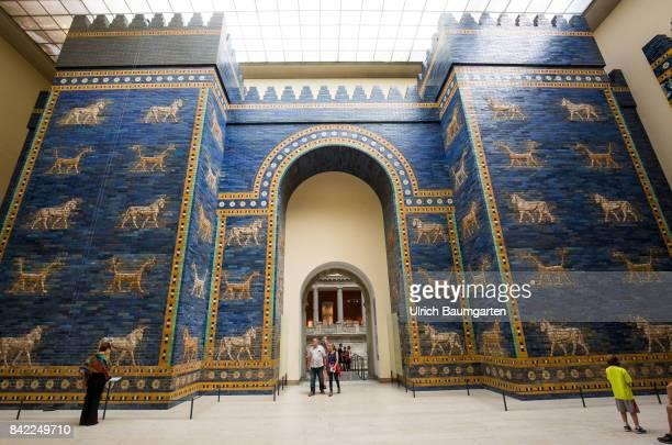 The Pergamon Museum on the Berlin Museum Island The photo shows the Ishtar Gate Babylon coloured glazed bricks 604562 BC