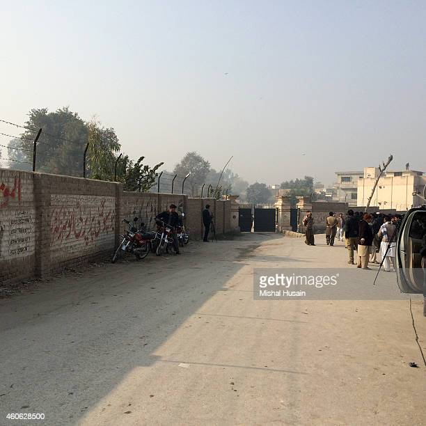 The perimeter of an armyrun public school that was targeted by Taliban militants in a deadly assault that claimed the lives of 141 students and...