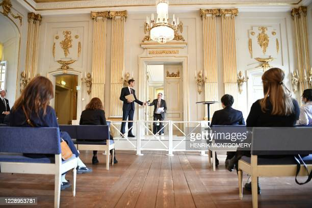 The Permanent Secretary of the Swedish Academy, Mats Malm and Anders Olsson, member fo the Sewdish academy announce the winner of the 2020 Nobel...