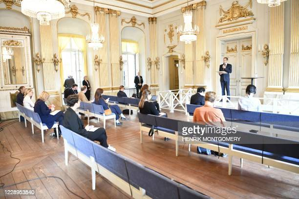 The Permanent Secretary of the Swedish Academy, Mats Malm, announces the winner of the 2020 Nobel Prize in Literature at the Swedish Academy in...