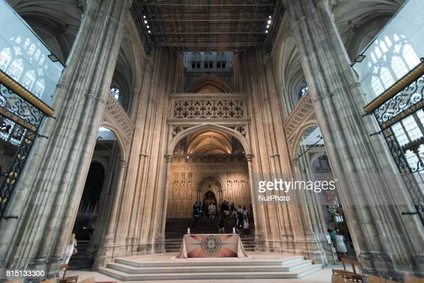 The perpendicular nave is seen inside the Canterbury Cathedral Canterbury on July 15 2017 Canterbury Cathedral in Canterbury Kent is one of the...