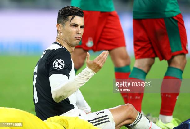 The perplexed expression of Cristiano Ronaldo of Juventus after a tackle with Guilherme of Lokomotiv Moskva during the UEFA Champions League Group...