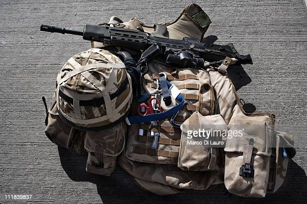 The personal body armour and kit of a member of the MERT is seen at the flight line in Camp Bastion on November 27, 2009 in Helmand Province,...