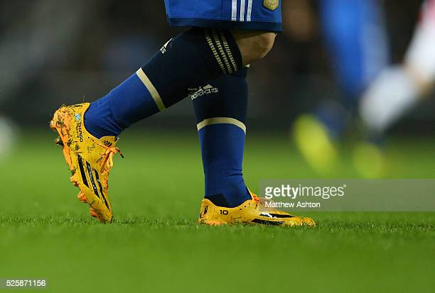 The personalised adidas boots of Lionel Messi of Argentina with the name of his son Thiago on them