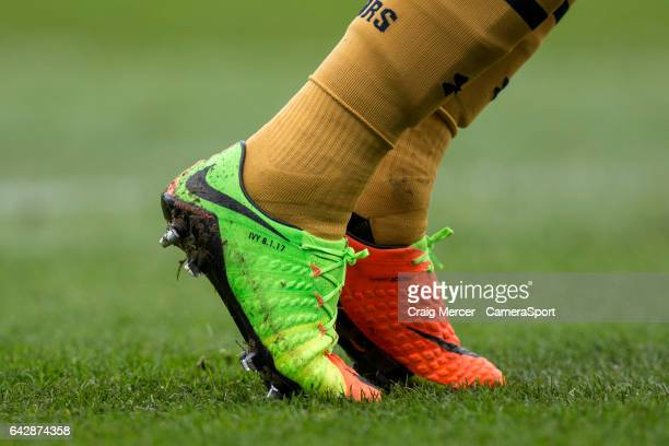 The personalised boots of Tottenham Hotspur's Harry Kane detailed with the birth date of his daughter during the Emirates FA Cup Fifth Round match...