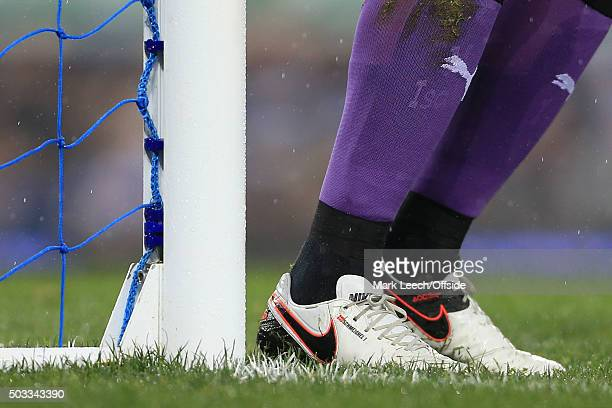 The personalised Nike boots worn by Leicester goalkeeper Kasper Schmeichel are seen during the Barclays Premier League match between Everton and...