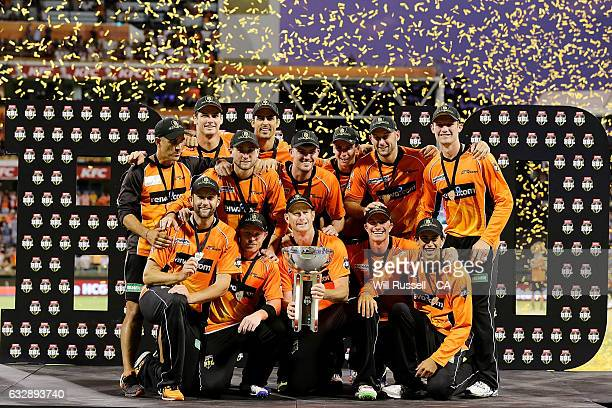 The Perth Scorchers BBL 06 Champions after defeating the Sixers during the Big Bash League match between the Perth Scorchers and the Sydney Sixers at...