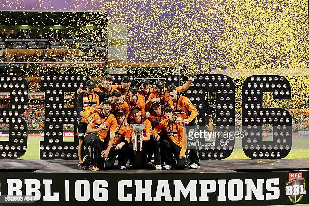The Perth Scorchers, BBL 06 Champions after defeating the Sixers during the Big Bash League match between the Perth Scorchers and the Sydney Sixers...