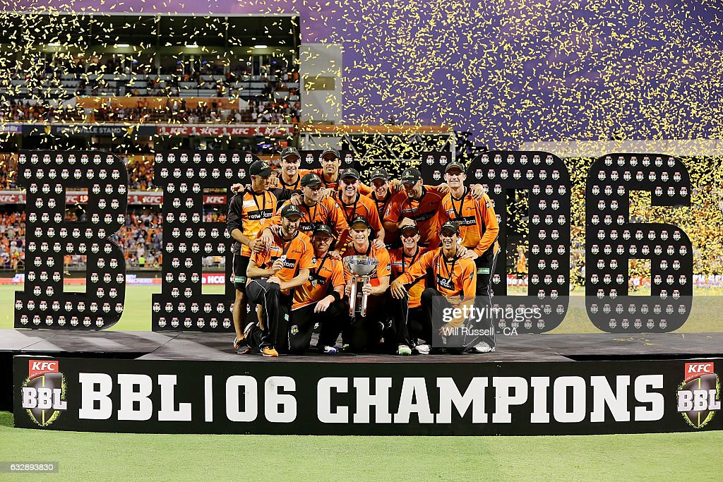 The Perth Scorchers, BBL 06 Champions after defeating the Sixers during the Big Bash League match between the Perth Scorchers and the Sydney Sixers at WACA on January 28, 2017 in Perth, Australia.