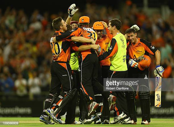 The Perth Scorchers celebrate after the Scorchers defeated the Stars during the Big Bash League semifinal match between the Perth Scorchers and the...
