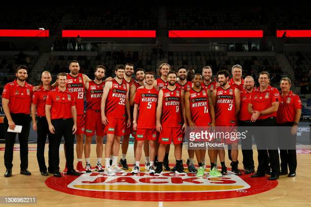 The Perth Wildcats pose for a photograph after winning the NBL Cup, after their against the Adelaide 36ers at John Cain Arena on March 14 in...