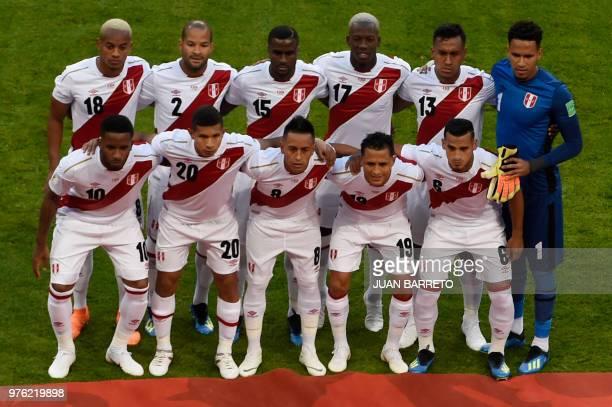 The Peru starting XI Peru's forward Andre Carrillo Peru's defender Alberto Rodriguez Peru's defender Christian Ramos Peru's defender Luis Advincula...