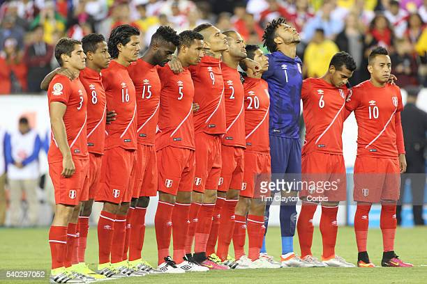 The Peru team during a moment of silence for the Orlando victims before before the Brazil Vs Peru Group B match of the Copa America Centenario USA...