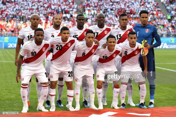 The Peru team line up ahead of the 2018 FIFA World Cup Russia group C match between Peru and Denmark at Mordovia Arena on June 16 2018 in Saransk...