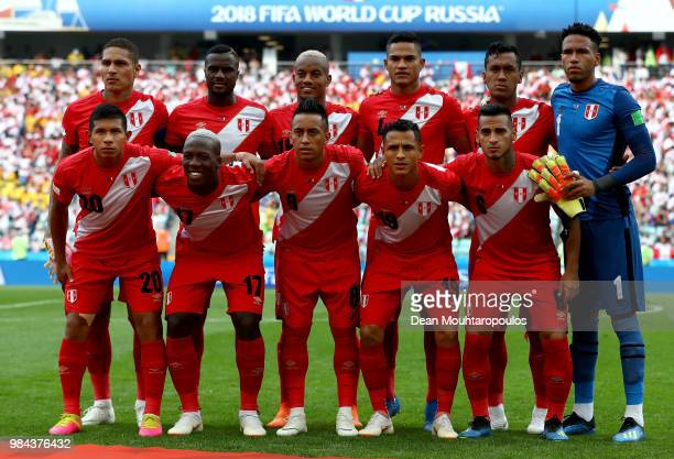 The Peru team line up prior to kickoff during the 2018 FIFA World Cup Russia group C match between Australia and Peru at Fisht Stadium on June 26...