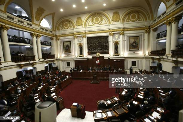 The Peruvian Congress in Lima is seen on December 15 as the presidency of Pedro Pablo Kuczynski hangs in the balance while the opposition which...