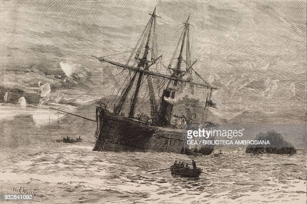 The Peruvian ironclad Huascar off Mollendo after its capture by the Chileans War of the Pacific illustration from the magazine The Graphic volume XX...