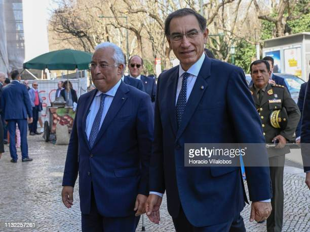 The Peruvian President Martín Vizcarra is greeted by Portuguese Prime Minister Antonio Costa in Palacio Foz on February 26 2019 in Lisbon Portugal...