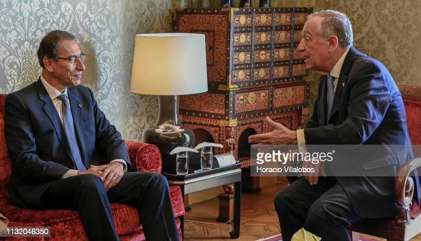 The Peruvian President Martín Vizcarra meets with Portuguese President Marcelo Rebelo de Sousa in Belem Presidential Palace on February 25, 2019 in...