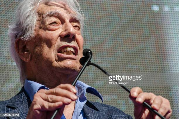 The Peruvian writer Vargas LLosa seen during his participation in Loyalist manifestos read Massive demonstration in Barcelona in defense of the unity...