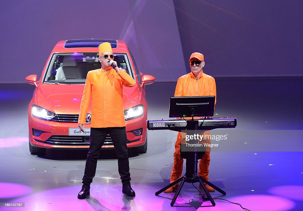 The Pet Shop Boys pictured during the Group Night at the international motor show IAA (Internationale Automobil-Ausstellung) on September 9, 2013 in Frankfurt am Main, Germany. The world's biggest motor show, the IAA, is running from September 12 to 22, 2013