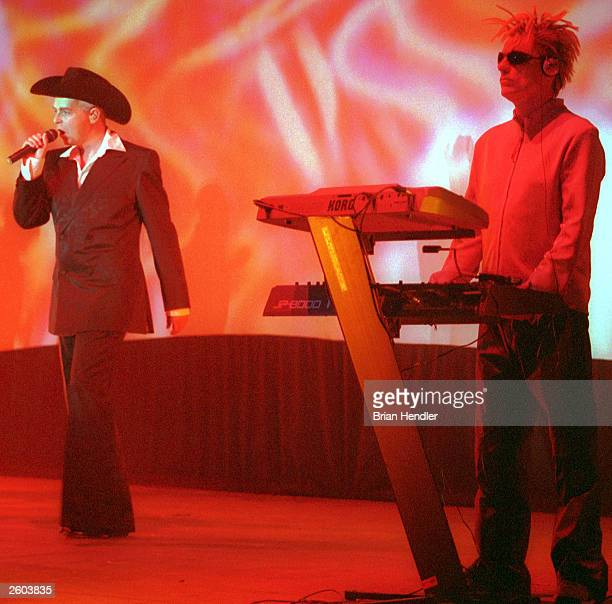The Pet Shop Boys vocalist Neil Tenant left and Chris Louw perform at the Sultans Pool on June 1 2000 in Jerusalem Israel The duo went on a world...