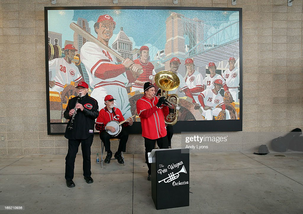 The Pete Wagner Orchestra performs before the start of the Los Angeles Angels of Anaheim game against the Cincinnati Reds at Great American Ball Park on April 1, 2013 in Cincinnati, Ohio.