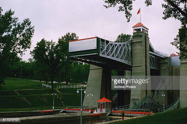 The Peterborough Lift Lock on the Trent Canal in Peterborough Ontario Canada 1960 It is the highest hydraulic boat lift in the world