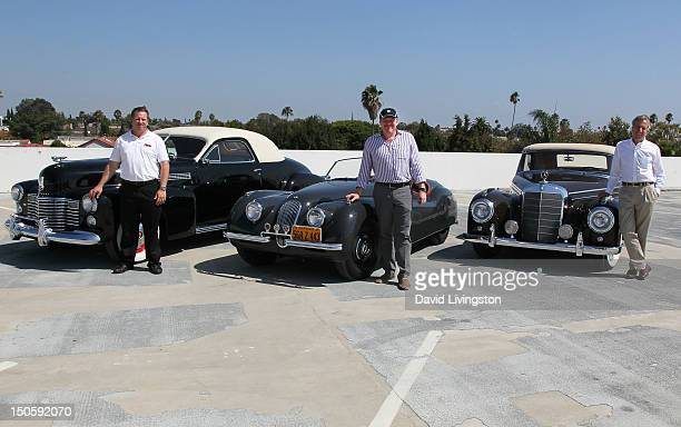 The Petersen's Chris Brown with the Petersen's 1941 Cadillac Series 62 Coupe car collector/Global Icons CEO Jeff Lotman with his 1949 Jaguar XK 120...