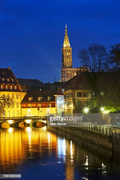 The Petit France district of Strasbourg illuminated at night