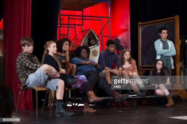 RISE 'The Petition' Episode 108 Pictured Sean Grandillo as Jeremy Caroline Pluta as Violet Rachel Hilson as Harmony Curtis Tiffany Mann as Cheryl...
