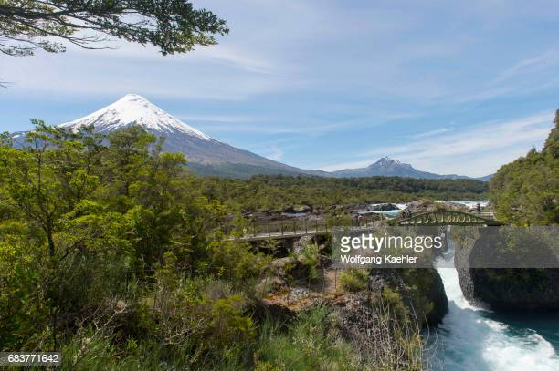 The Petrohue Rapids and Osorno Volcano in Vicente Perez Rosales National Park near Puerto Varas and Puerto Montt in the Lake District in southern...
