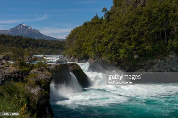 The Petrohue Rapids in Vicente Perez Rosales National Park near Puerto Varas and Puerto Montt in the Lake District in southern Chile