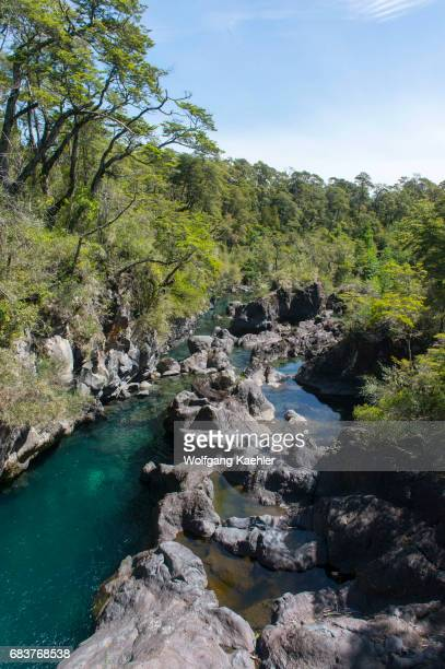 The Petrohue River in Vicente Perez Rosales National Park near Puerto Varas and Puerto Montt in the Lake District in southern Chile