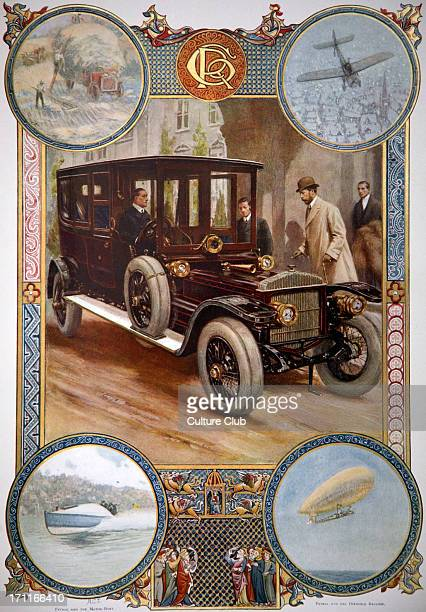 five phases of the great power of the reign of King George V – in commemorative issue of LIN for his coronation in 1910 the motor car farm wagon...