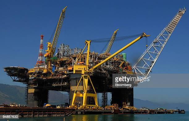 The Petroleo Brasileiro SA P51 oil platform stands at the KeppelFels Shipyard in Angra dos Reis Rio de Janeiro in Brazil on Thursday Aug 21 2008...