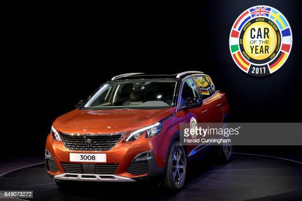 The Peugeot 3008 Car of the Year 2017 is displayed during the 87th Geneva International Motor Show on March 7 2017 in Geneva Switzerland The...